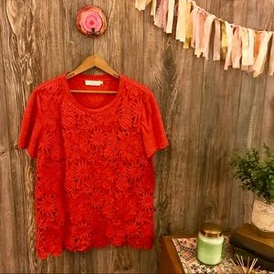 {tory burch} red floral appliqué embellished tee l